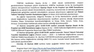 TOKAT KOSGEB TÜBİTAK Siparişe Dayalı Ar-Ge ve Patent Tabanlı Teknoloji Transferi Destekleme Programı Bilgilendirme Toplantısı