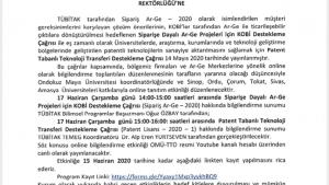 TOGÜ TÜBİTAK Siparişe Dayalı Ar-Ge ve Patent Tabanlı Teknoloji Transferi Destekleme Programı Bilgilendirme Toplantısı